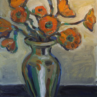 Coral Tulips, Green Vase